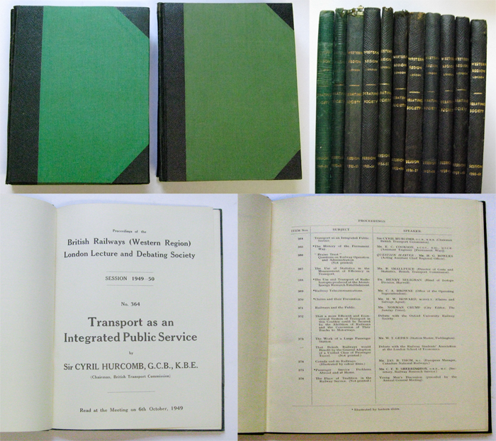 Image for Proceedings of the British Railways (Western Region) London Lecture and Debating Society. Sessions 1949-50 to 1950-51 and 1952-53 to 1960-61 (11 Volumes in total)