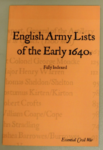 Image for English Army Lists of the Early 1640s. Fully Indexed.  (Essential Civil War Series)