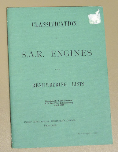 Image for Classification of S.A.R. (South African Railways) Engines with Renumbering Lists