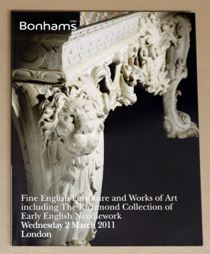 Image for Fine English Furniture and Works of Art Including the Richmond Collection of Early English Needlework. Auction: Wednesday 2 March 2011