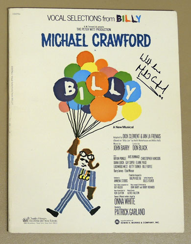 Image for Vocal Selections from Billy: A New Musical. Featuring Michael Crawford (Signed Copy). (Charles Hansen Educational Sheet Music & Books) E8476A