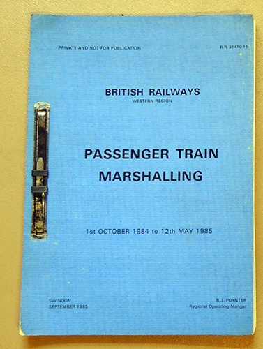 Image for British Railways Western Region. Passenger Train Marshalling 1st October 1984 - 12th May 1985 (B.R. 31410/15)