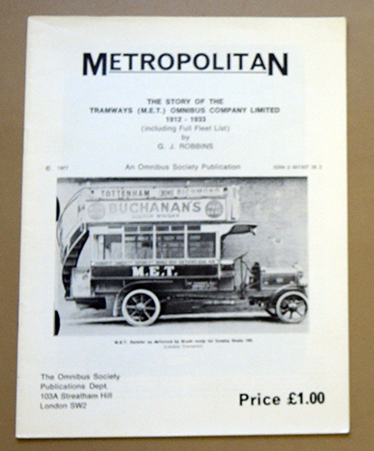 Image for Metropolitan: The Story of the Tramways (M.E.T.) Omnibus Company Limited, 1912 - 1933 (Including Full Fleet List)
