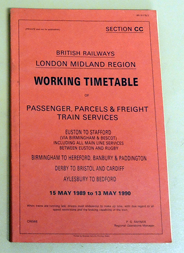 Image for Working Timetable of Passenger, Parcels & Freight Train Services 15 May 1989 to 13 May 1990 (BR31178/3)